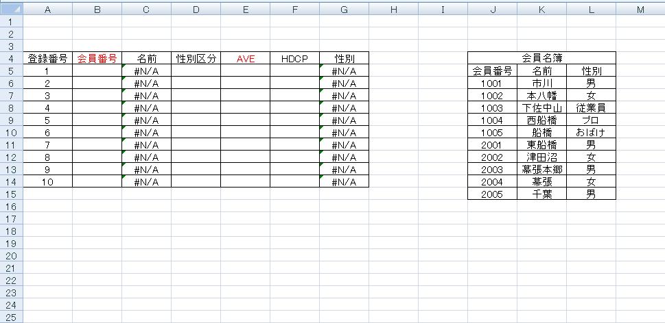 エクセル数式vlookup
