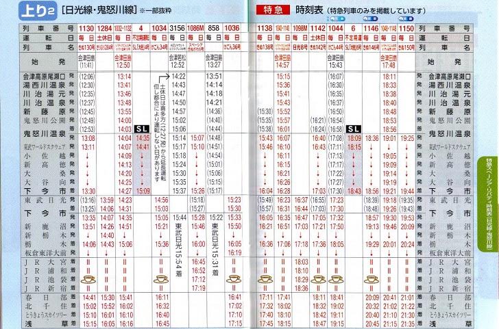 東武鉄道時刻表(上り1)