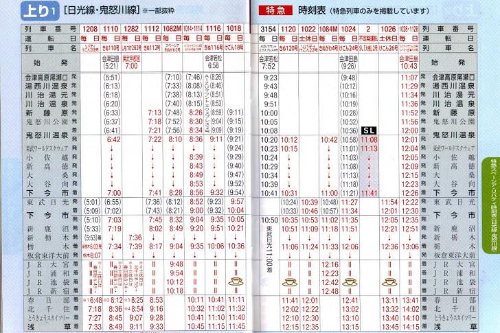 東武鉄道時刻表(上り2)