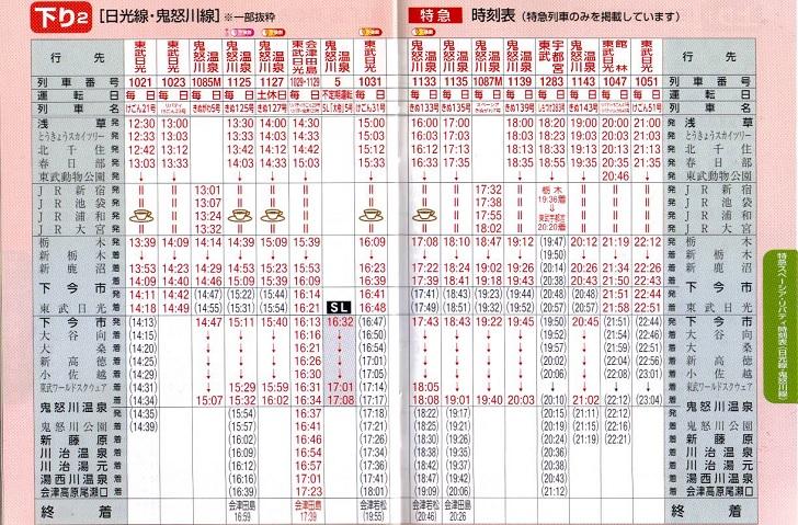 東武鉄道時刻表(下り2)